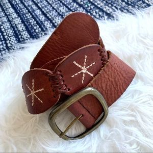 AEO embroidered woven belt cognac brow leather
